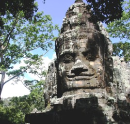 The smiling Buddha at Angkor Thom